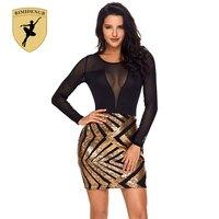 BIMIDENGB 2018 New Arrival Sexy Party Dress Sequin Black Sheer Mesh Long Sleeve Champagne Night Club Bodycon Dress vestidos