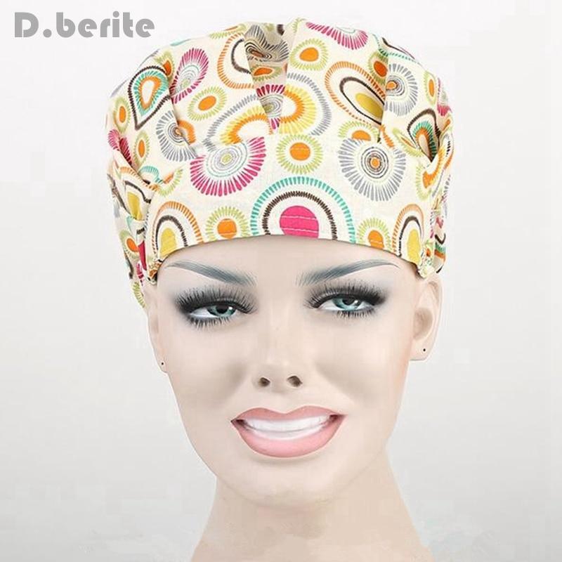 9 Kinds Pattern Flower Printing Lab Scrub Cap Bouffant Medical Surgical Surgery Hat Nursing Cap Unisex Beauty Cap DAJ9018