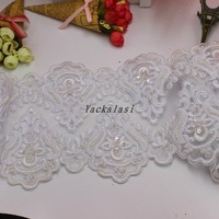 Lace Embroidery Applique Beading Embroidered Picture Wedding Dress Skirt Veil Women Overcoat Diy Accessories