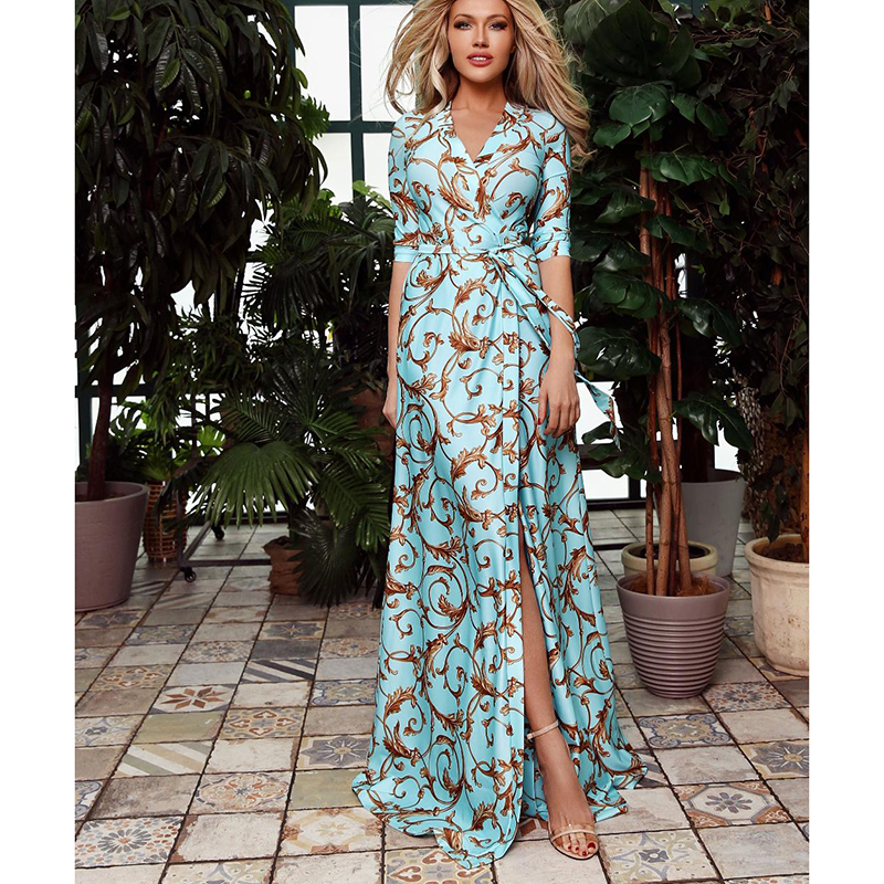 Retro Print Sashes Long Dress Women Split High Waist Bohemian Maxi Dress 2019 Long Sleeve Summer Beach Dresses Robe Femme