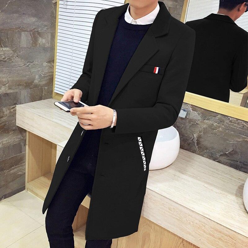 2017 Autumn Winter Fashion Casual   Trench   Coat Men , Warm High-end Quality Slim Dovetsil Gabardina Larga Hombre Large Size S-5XL