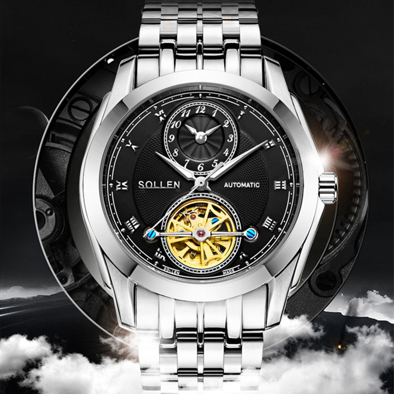 SOLLEN Brand Men Watches Male business Automatic machinery Watch men's 30M waterproof stainless steel wristwatch relojes hombre read the royal knight men watch series fully automatic machinery male watches r8019g