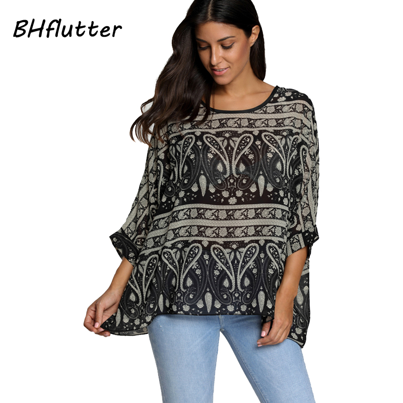 BHflutter Women   Shirts   Casual Print Summer Tops   Blouses   2018 New Arrival Batwing Sleeve Chiffon   Blouse     shirt   Plus Size Blusas