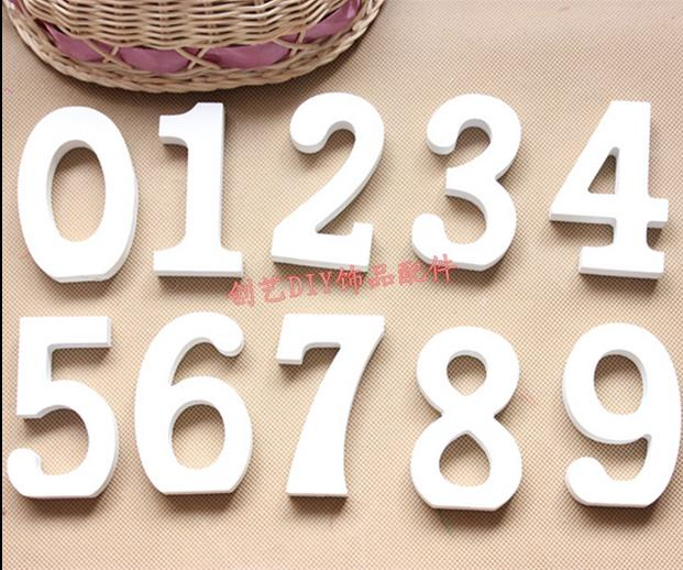 Decoration Crafts Figurines white number decoration wooden name plaques word 3D numbers Furnishing articles 10pcs/lot