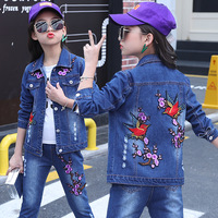 Children Jeans Sets Clothing Girl Suits Spring/autumn Kids Baby Girls Casual Denim Two piece Jacket Pants Sets Embroidered Cloth