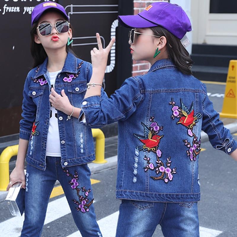 Enfants Jeans ensembles vêtements fille costumes printemps/automne enfants bébé filles décontracté Denim deux pièces veste pantalon ensembles tissu brodé