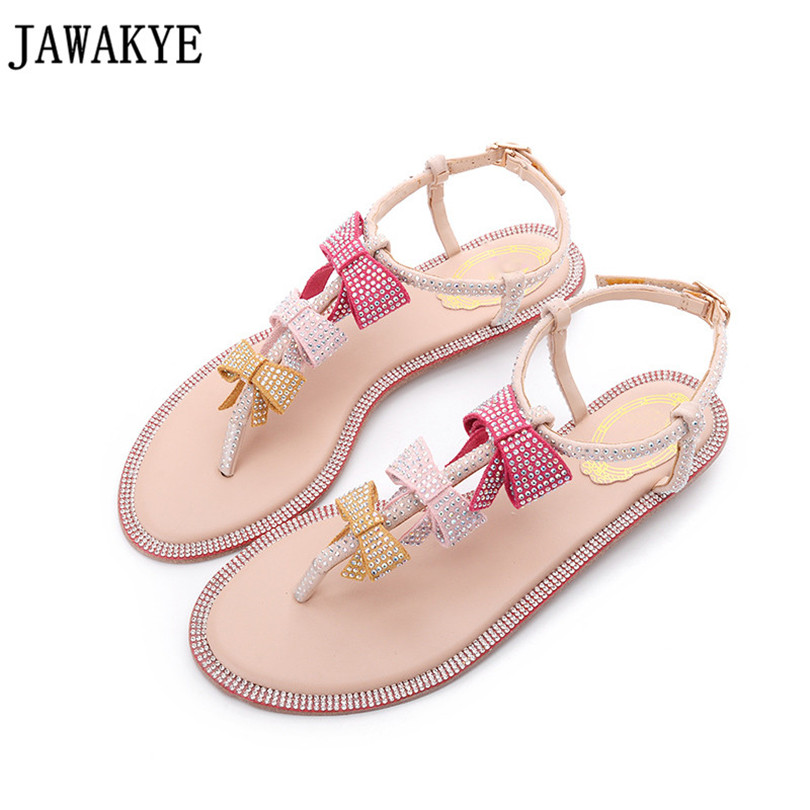 Charming Fairy Shinny Crystal studded Flats Sandals women Butterfly Knot flip flops Drilled dress Hot sell