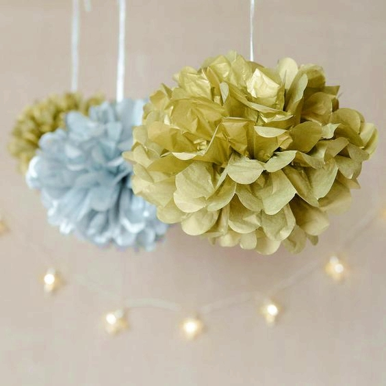 10pcs Gold Mix 6 quot 8 quot 10 quot Circle Garland amp Tissue Pom Poms Paper Flower Balls Hanging Decor Showers Party Birthday Wedding in Party DIY Decorations from Home amp Garden