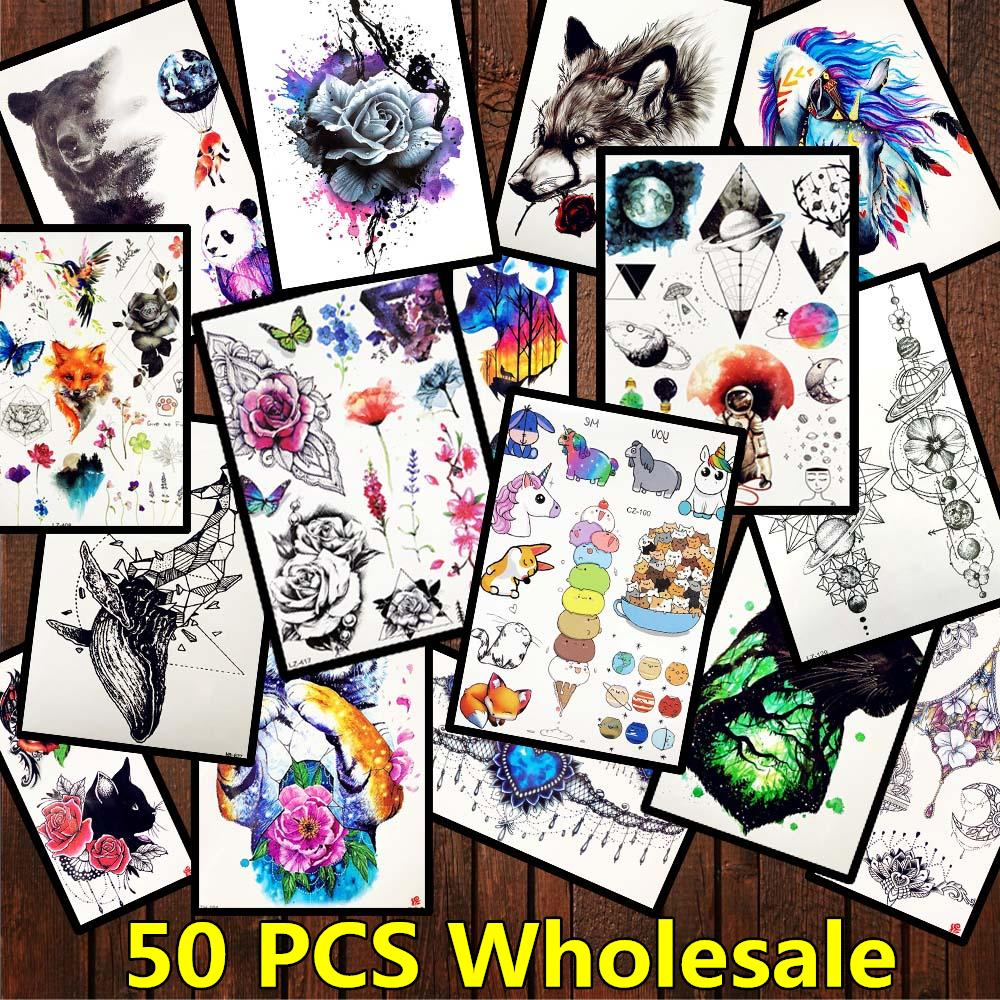 50 Pieces Wholesale Temporary Arm Tattoo Sticker For Men Women Geometric Planet Body Art Tatoo Fake