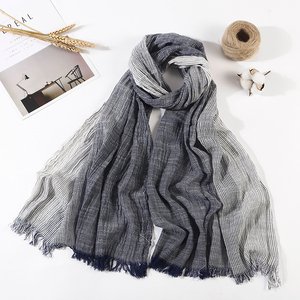 NEW Unisex Men's Scarf Hot Sale Plaid Striped Tassel Shawls and Wrap Bufandas Cachecol Cotton Linen Wrinkled Men Scarves