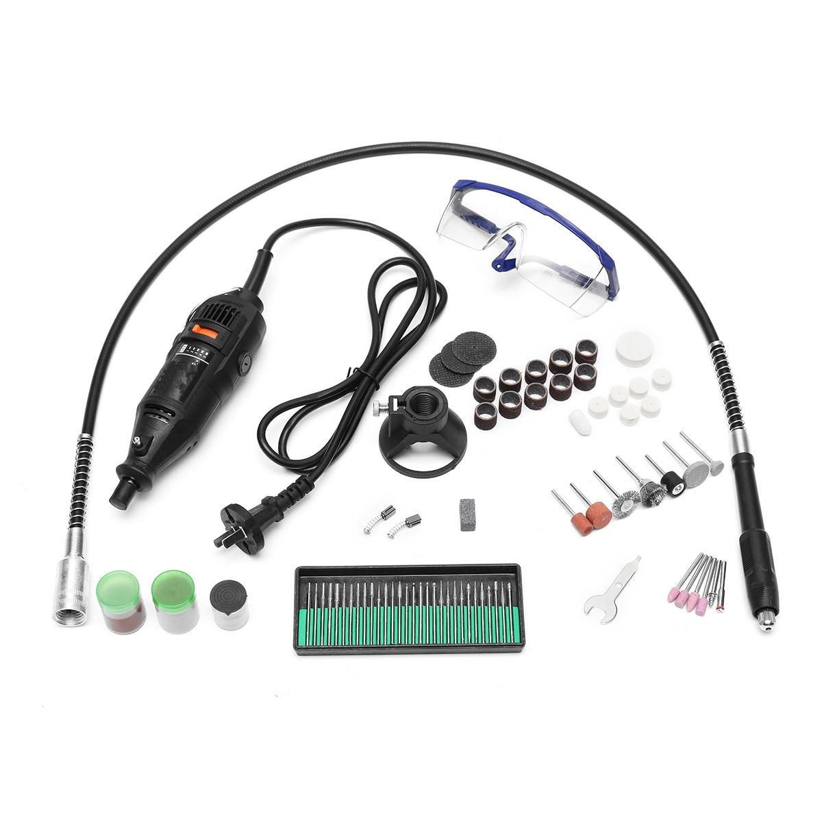 114Pcs/Set Mini Electric Drill 5 Variable Position Speed Dremel Rotary Grinder Machine Polishing Sanding Tool Accessories Kit