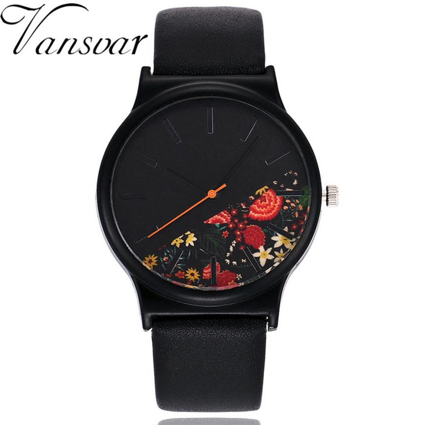 Vansvar Quartz Wristwatches Reloj Mujer Fashion Casual Women's Watches Leather Bracelet Ladies Analog Watch 17DEC18 vansvar brand luxury fashion casual quartz unique stylish hollow skeleton watch leather sport ladies wristwatches drop shipping