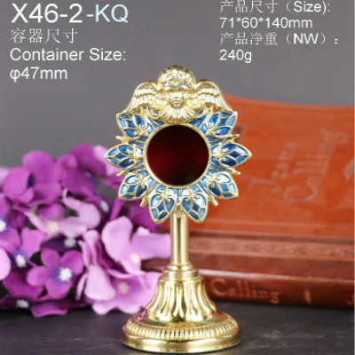 High quality guarantee of copper holy box Catholic supplies Catholicism church angel holy reliquary gift beautiful monstrance