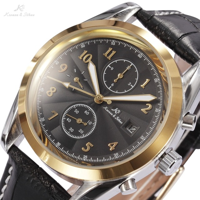 Luxury KS Black Dial Gold Case Date Day Display Analog Leather Strap Male Self Wind Clock Men Automatic Mechanical Watch / KS176