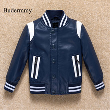 Budermmy 2018 Spring Fashion Leather Boys Jacket Brand Design Infant Coats Girls Outerwear Kids Clothes Children Clothing
