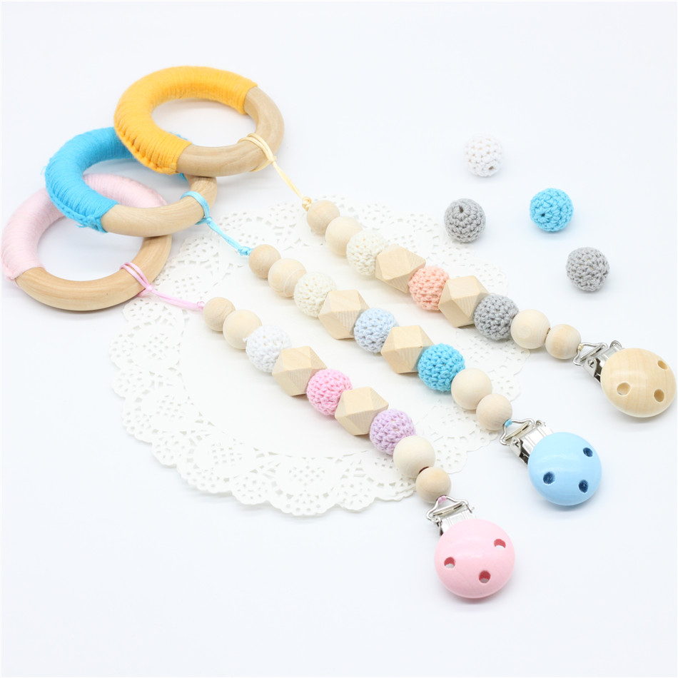 1 PC SALE 3 COLOR TO CHOOSE Natural baby pacifier, fake frame hook Bead & hook line wooden ring girl / boys mother gift