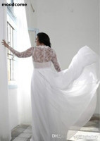 Plus Size Wedding Dresses with Split Plunging V Neck Illusion Lace Long Sleeves Bridal Gowns Bohemian Boho Brides Formal