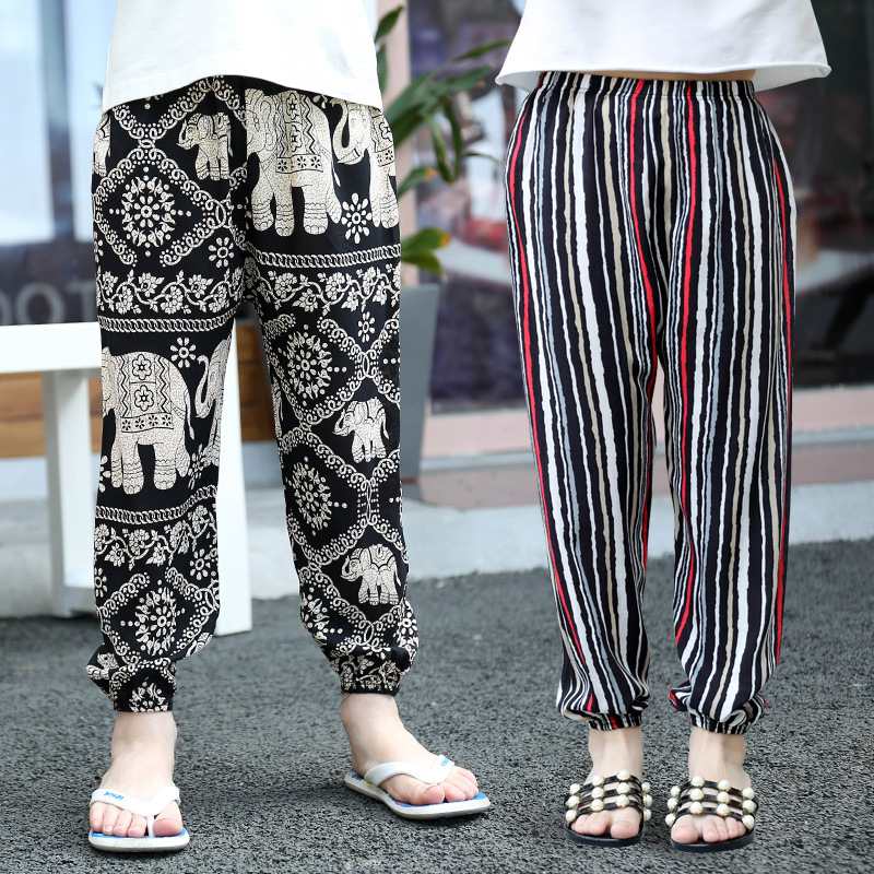2-10Y New Summer Children Pants Anti-mosquito Pants Boys Printed Girls Harem Pants Kids Joggers Teenager Trousers Baby Clothing(China)