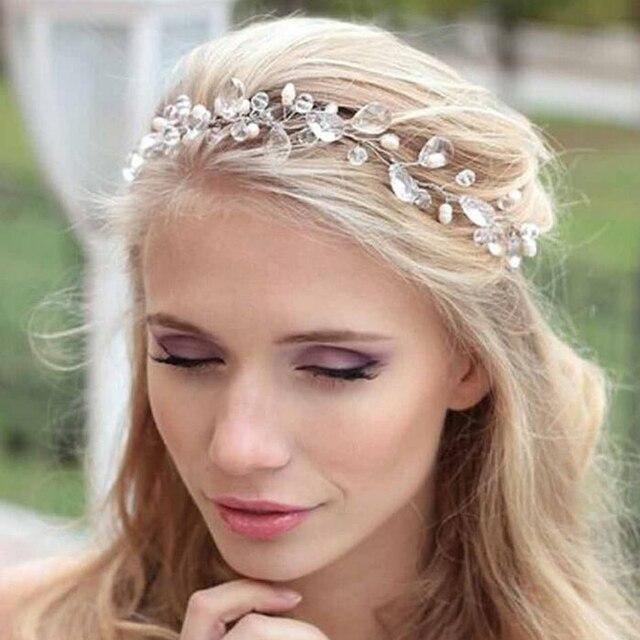 Water Drop Rhinestone Headband Wedding Bride Crystal Hair Band Soft ...