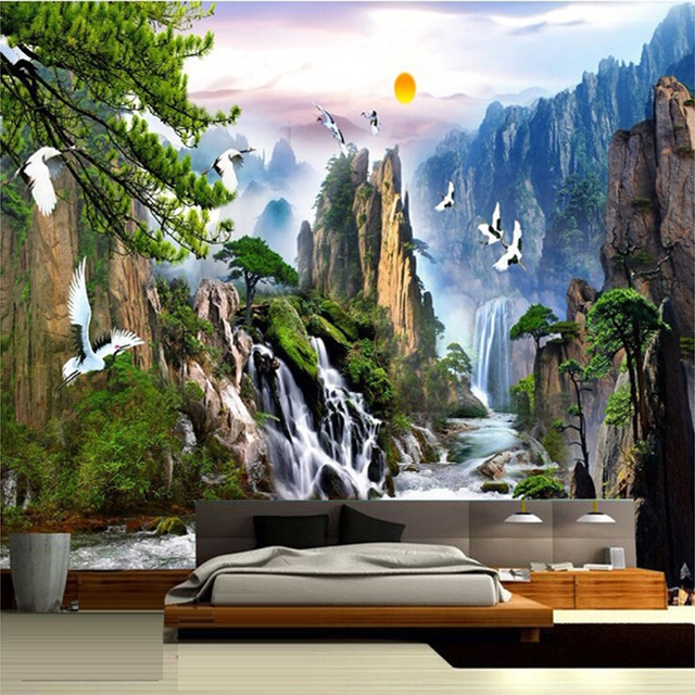 Chinese Style Landscape Paintings Wall Mural Sunrise Mountain Waterfalls Red Crowned Crane Custom 3D Photo