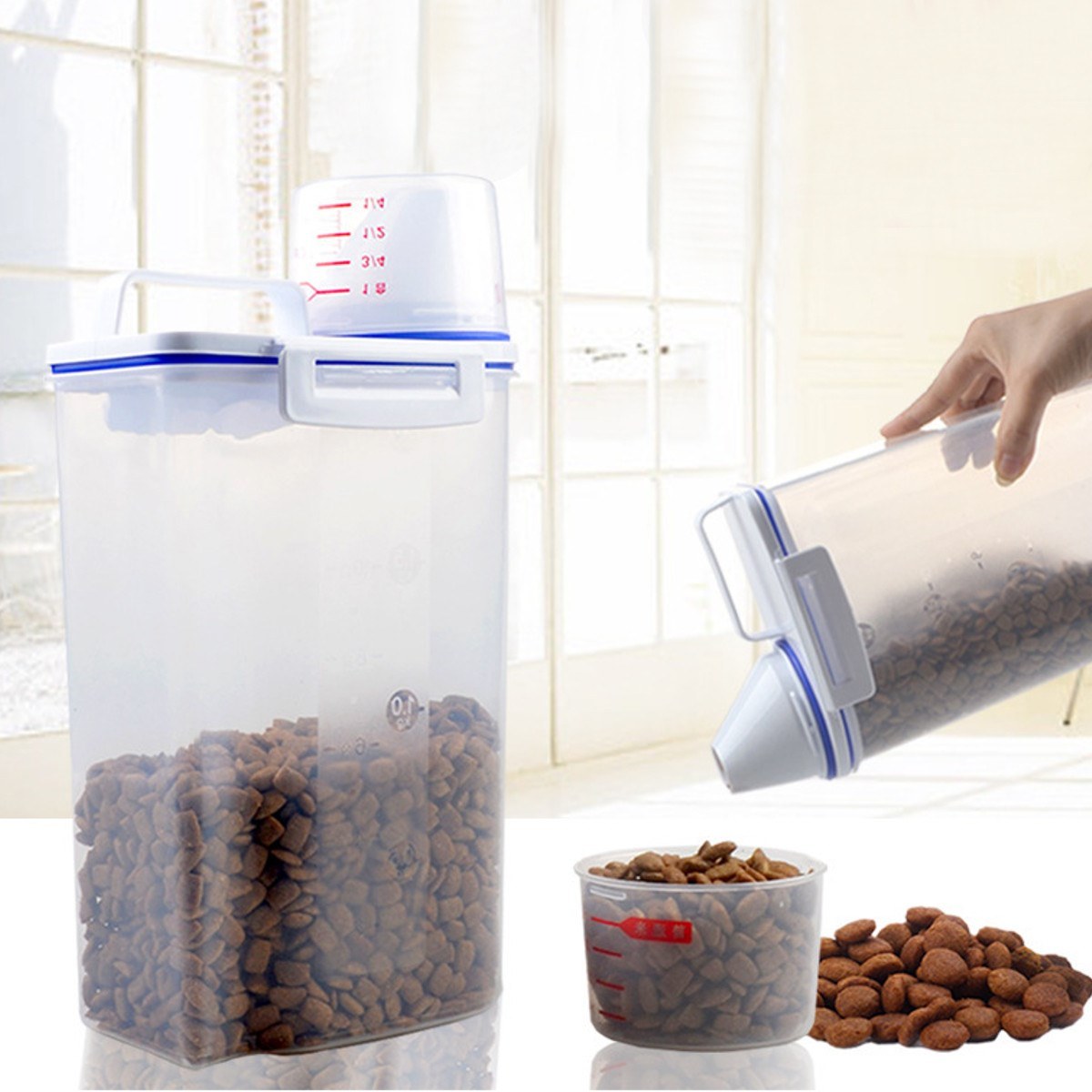 Portable Dry Dried Food Cereal Flour Storage Rice Container Pet Food