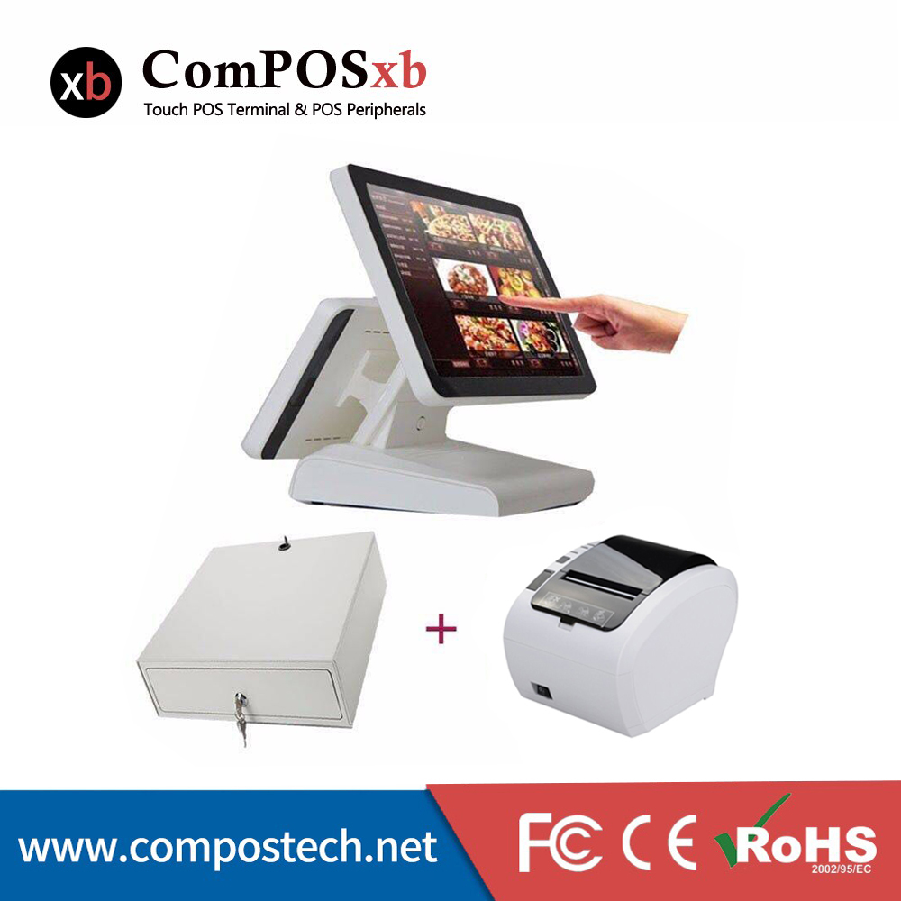 Macchina pos punto del sistema di vendita 15 di tocco monitor touch screen registratore di cassa tutto in un pc