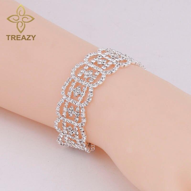 TREAZY Women font b Luxury b font Bracelets Bangles Silver Plated Rhinestone Fashion Bridal Bracelets font