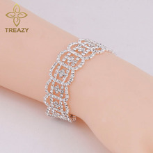 TREAZY Women Luxury Bracelets & Bangles Silver Plated Rhinestone Fashion Bridal Bracelets Wedding Jewelry Gifts