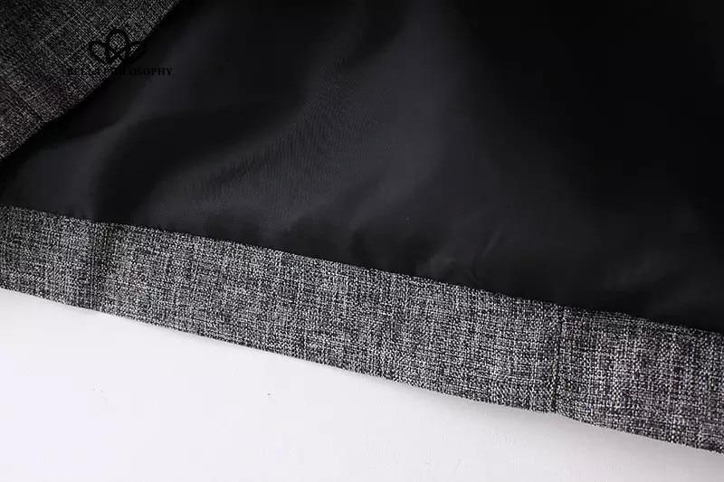 2017 весной новый серый одной кнопки длинные прямые пальто куртки с двойными карманами