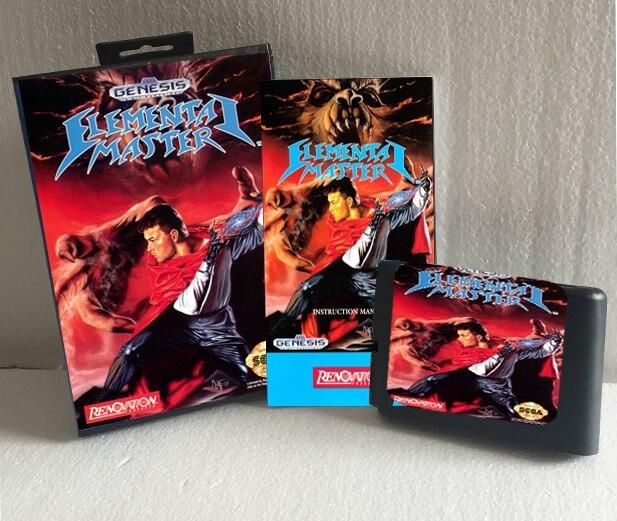 Elemental Master With Box And Manual 16bit MD Game Card For Sega Mega Drive For Genesis