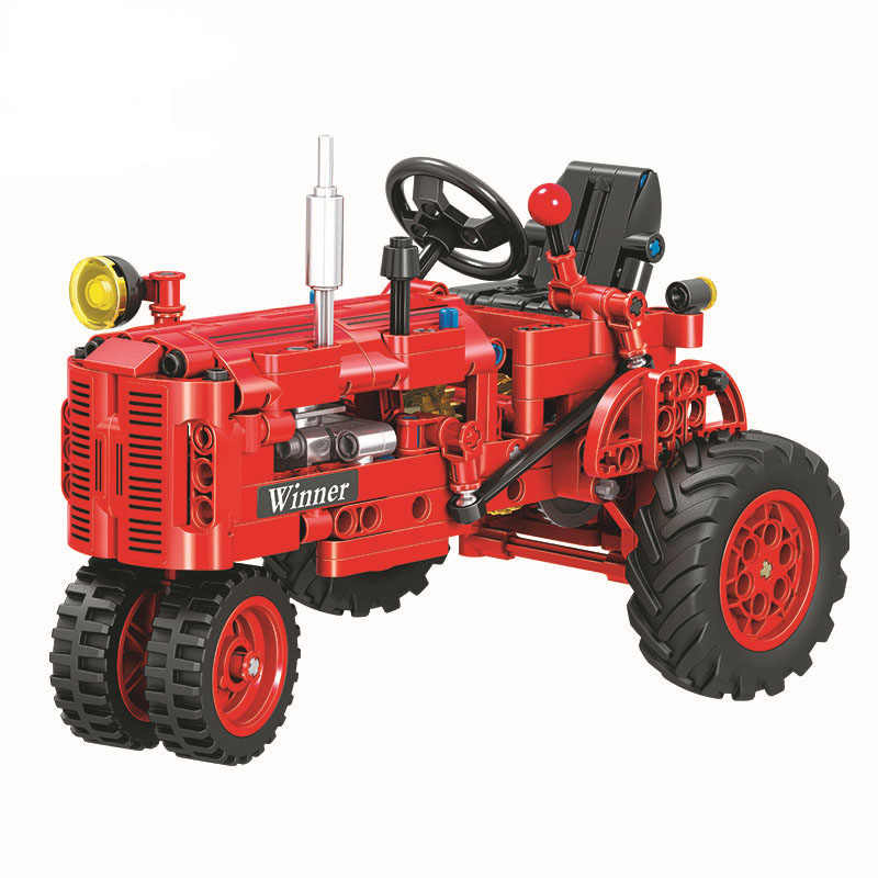 302Pcs Technic Classical Red City Tractor Compatible with  Block Set Farm Vehicles Model Building Brick Toy  Winner 7070