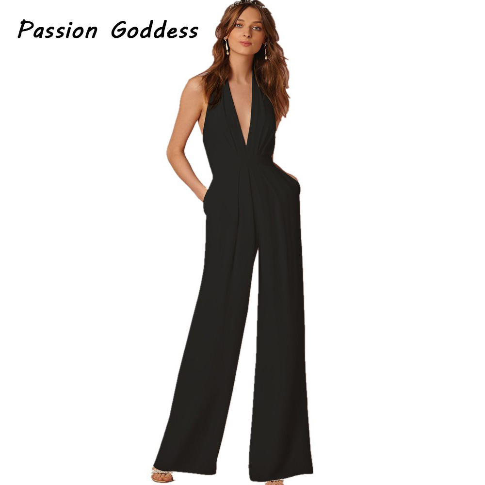 Fashion Women Party Playsuit Overalls Long Jumpsuits Office Lady Long Pants Halter Rompers Sleeveless Slim Jumpsuits all Overall