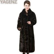 YAGENZ Imitação de Vison Casaco De Pele das Mulheres 2017 das Mulheres de Inverno Grande tamanho Faus Fur Casacos Feminino Longo Fur Coats plus size 4XL