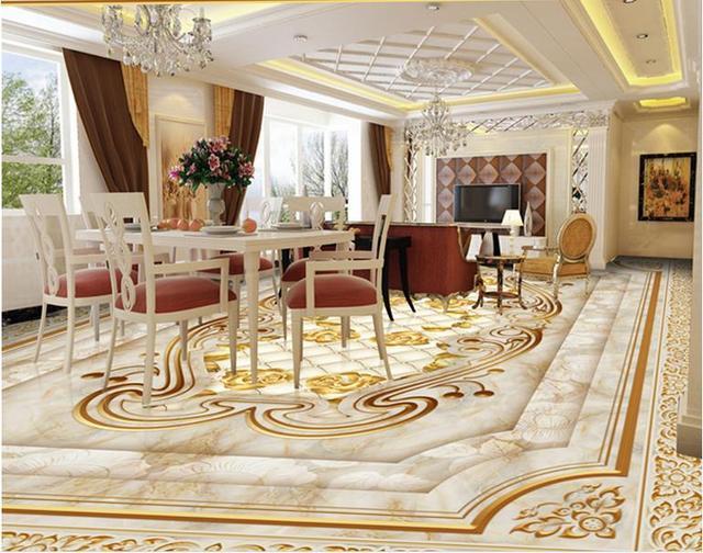Europäischen Luxus 3d Boden Tapete Benutzerdefinierte Pvc Selbstklebende  Tapete Rose Marmor 3d Bodenbelag Tapete Für