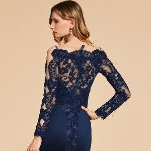 Image 5 - Dressv אלגנטי ארוך שרוולים שמלת ערב מסולסל קצה צוואר חצוצרת תחרה מסיבת חתונה רשמי שמלת ערב שמלות אישית