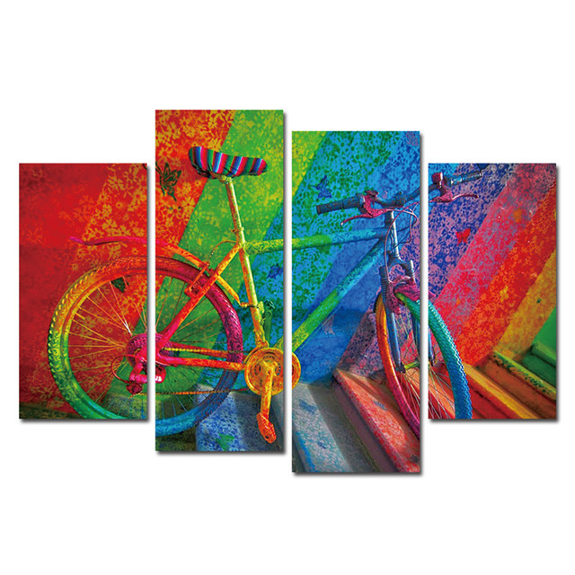 Colorful Bike Print Canvas Printing Modern Wall Art Pictures For