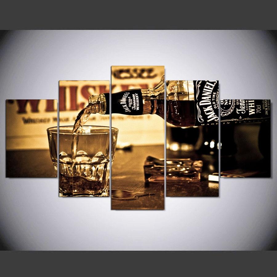 popular drink jack daniels buy cheap drink jack daniels lots from 5 stuks muur canvas schilderij hd gedrukt jack daniels drink posters muur pictures voor woonkamer moderne