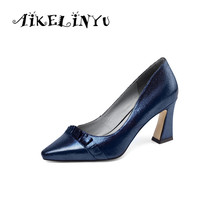 AIKELINYU Women Sheepskin Shoes Ladies Shallow Genuine Leather Fashion Bow Square Heel Pumps New Office