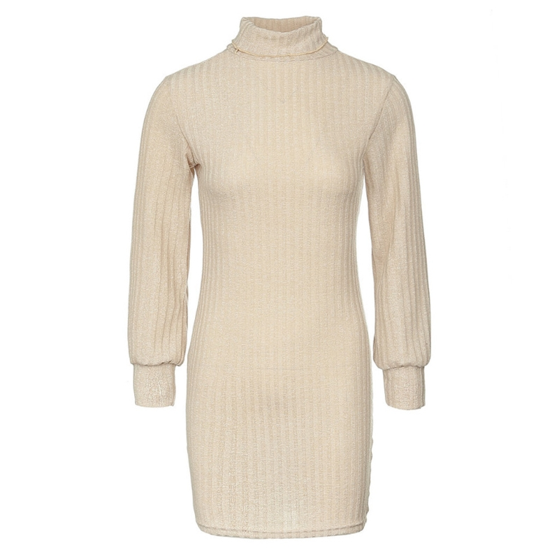 Womens Sweaters High Necked Long Sleeve Dress Solid Slim Pullover Jumper Bodycon