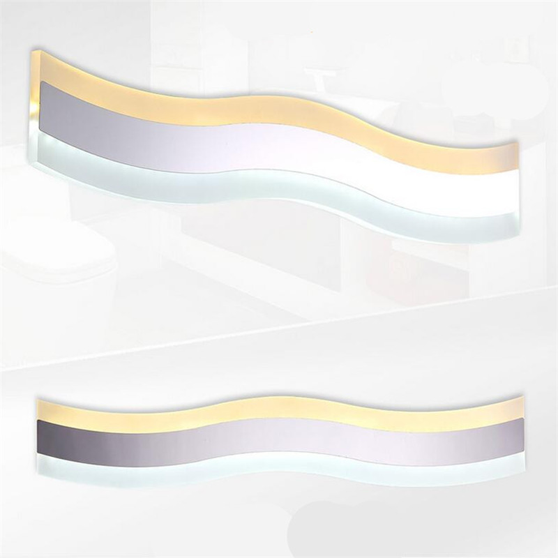 Modern Brief Creative Wave Shape Aluminum Acryl Led Mirror Light for Bathroom Living Room Wall Lamp IP 65 41/50cm 1386 modern simple wavy acryl aluminum led wall lamp for bathroom mirror light bedroom living room tv background aisle 48 58cm 1337