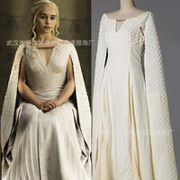 Halloween Game of Thrones Daenerys Targaryen Costumes Khaleesi white Dress with cape Mother of Dragons fancy dress