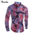 High Quality  Long Sleeve 3D Tie-dye Printed Men Shirt Cotton Luxury Trend Social Mens Dress Slim Fit Shirts Male Party Shirt