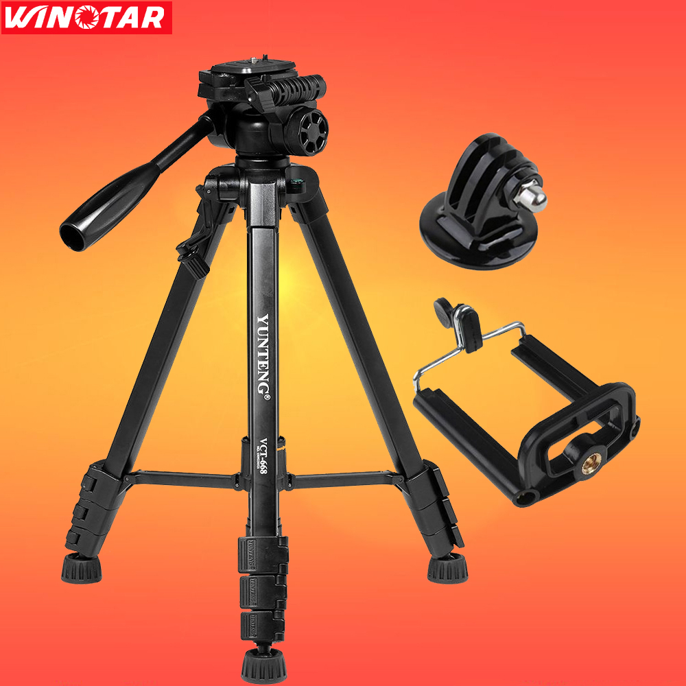 YUNTENG VCT-668 Pro Tripod With Damping Head Fluid Pan For SLR/DSLR Canon Nikon + GoPro Tripod Mount Screws + Mobile Phone Stand