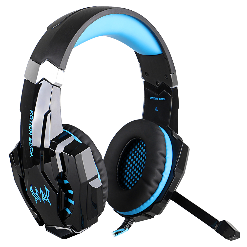 MOONBRO G9000 3.5mm Gaming Headphone Headset Earphone Headband with Microphone LED Light for PS4 Laptop Tablet Mobile Phone