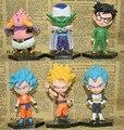 6 pçs/lote Figuras de Dragon Ball Z Figuras de Ação Dragonball Super Filho Azul Deus Super Saiyajin Goku Vegeta Brinquedos Dbz Majin Buu figura