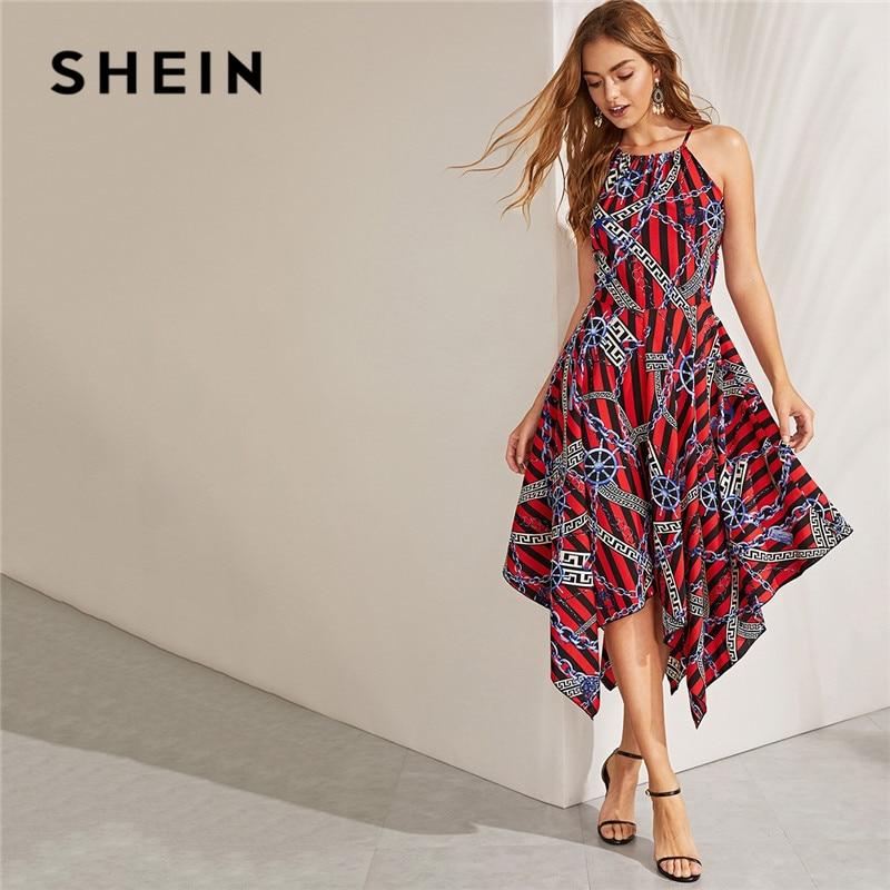 SHEIN цепочка в богемном стиле с асимметричным подолом, без рукавов, расклешенная, миди платье, женское повседневное пляжное летнее платье