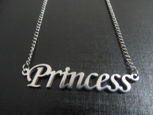 30pcs PRINCESS Name necklace pendant stainless steel Jewelry with free chain for Women and Men Gift