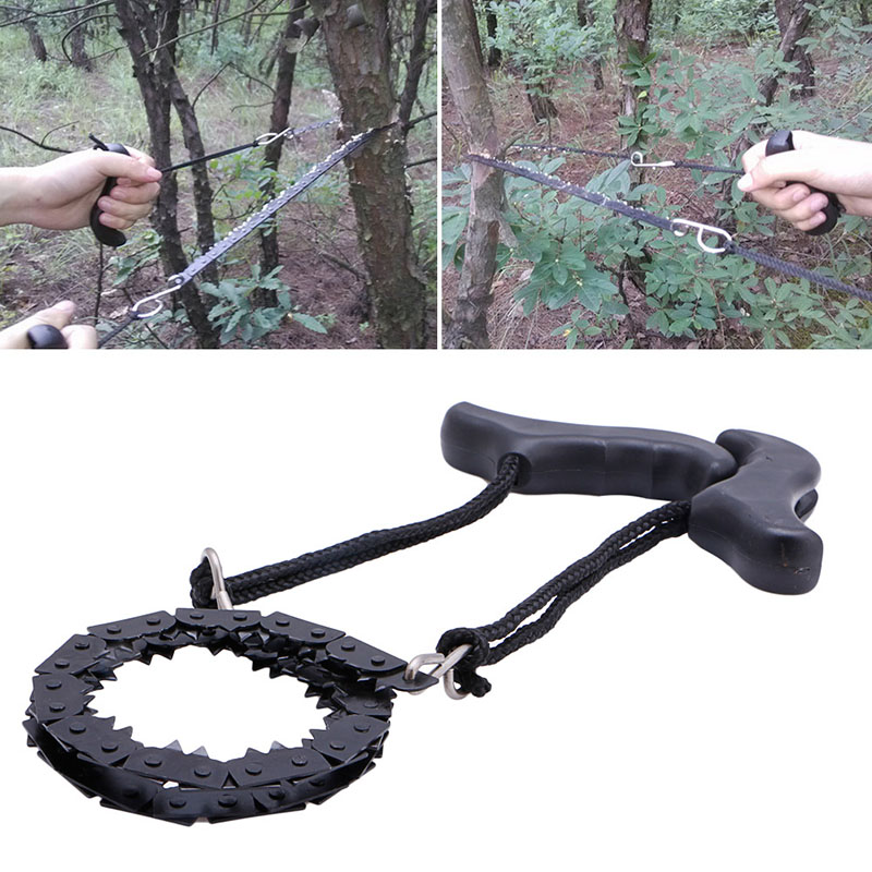 Black Survival Chain Saw Hand ChainSaw Fast Cut Camping EDC Pocket Gear Tool S