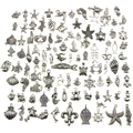 For DIY Charm Handmade Crafts 100PCS Mixed Antique silver-color mini Ocean Dolphin Shell Charms Pendant Jewelry Making