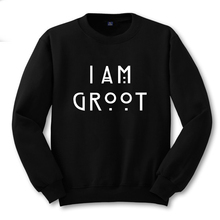 Guardian Of The Galaxy I Am Groot Letter Printing Men Sweatshirt Boys Black Sweat Shirt Male Printed Clothing S -2XL American